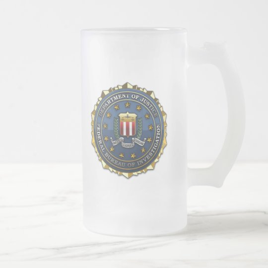 Federal Bureau of Investigation Frosted Glass Beer Mug