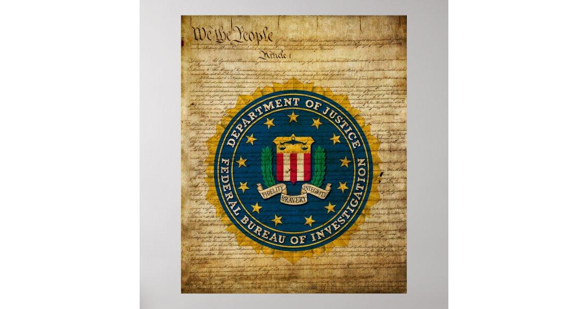 Federal Bureau Of Investigation Poster Zazzle Com