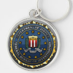 Federal Bureau of Investigation Silver-Colored Round Keychain