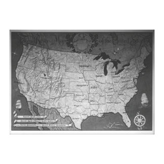 Federal Reserve Building Map Canvas Prints