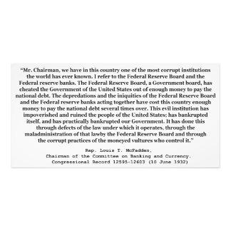 Federal Reserve corrupto cita por Louis T McFadden Impresion Fotografica