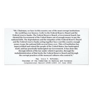 Federal Reserve corrupto cita por Louis T McFadden Comunicados Personalizados
