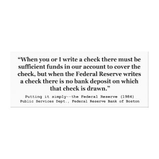 Federal Reserve crea el dinero que lo pone simplem Impresión De Lienzo