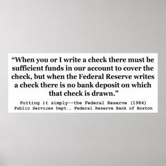 Federal Reserve crea el dinero que lo pone simplem Poster