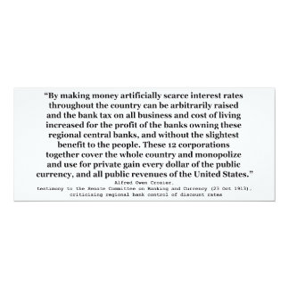 Federal Reserve Interest Rates by Alfred O Crozier 4x9.25 Paper Invitation Card