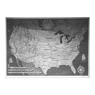 Federal Reserve que construye el mapa Impresión En Lienzo Estirada