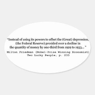 Federal Reserve y la Gran Depresión Pegatina Ovalada