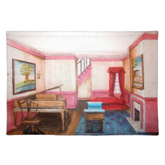 Federal Style Rendered Perspective Room With Piano Cloth Placemat