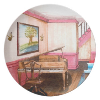 Federal Style Rendered Perspective Room With Piano Dinner Plate