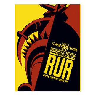 "Federal Theatre: Marionette Theatre presents ""RUR"" Postcard"