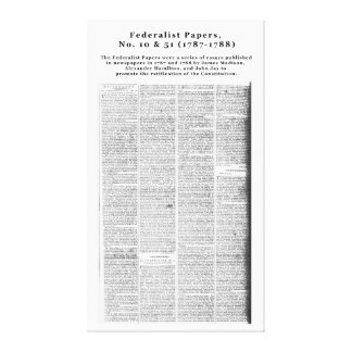 Federalist Papers, No. 10 & No. 51 (1787-1788) Canvas Print
