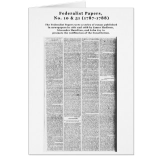 Federalist Papers, No. 10 & No. 51 (1787-1788) Card