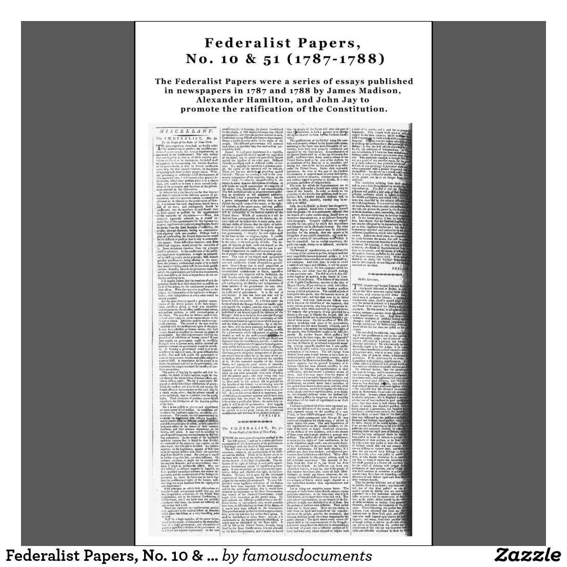 analysis of federalist paper no 10 james James madison (29 articles: no 10, 14, 18–20  statistical analysis has been undertaken on several occasions to try to ascertain the the federalist papers.