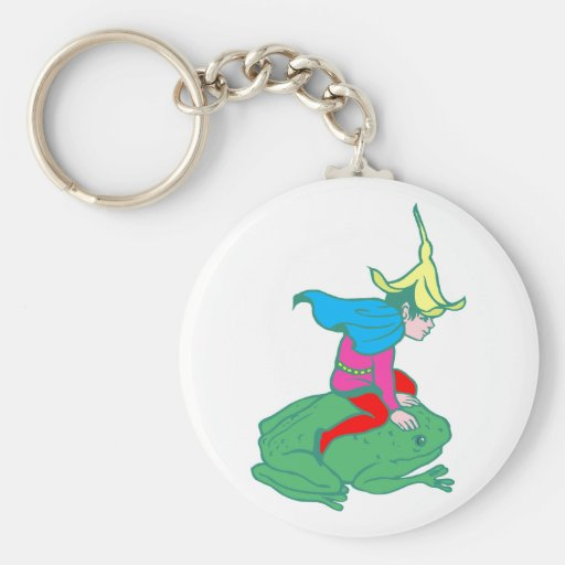 Fee fairy frog frog basic round button keychain