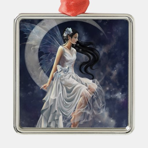 féé lune square metal christmas ornament