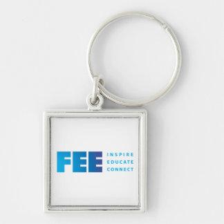 FEE_tag_RGB gradient tag shirt.ai Silver-Colored Square Keychain