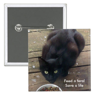 """Feed a Feral, Save a Life"" feral cat button"