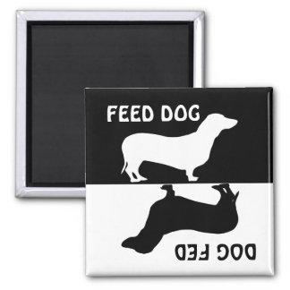 Feed dog, dog fed,  Dachshund fridge magnet