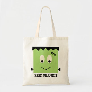 Feed Frankie green Halloween candy trick or treat Canvas Bags