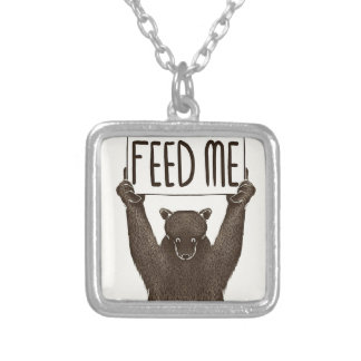 Feed Me And Tell Me I'm Pretty Bear Silver Plated Necklace