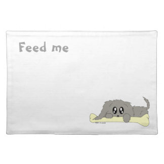 Feed Me Puppy Dog with Bone Food Water Placemat Cloth Placemat