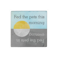 Feed Pets Kitchen Reminder   Fed Dog Cat Fish Pet Stone Magnet