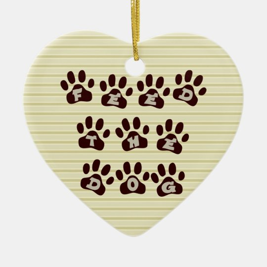 Feed the Dog Paw Print  2 Sided Door Hanger Ceramic Ornament