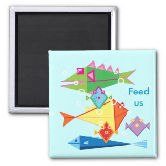 Feed the fish reminder 2 inch square magnet