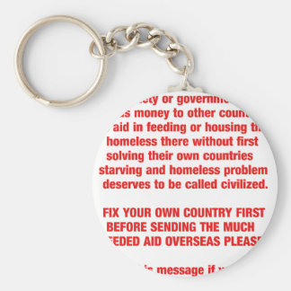 Feed your own countries starving first then send.. key chains