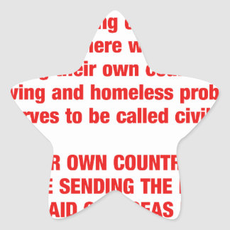 Feed your own countries starving first then send.. star sticker