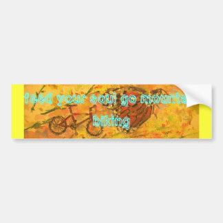 feed your soul go mountain biking car bumper sticker