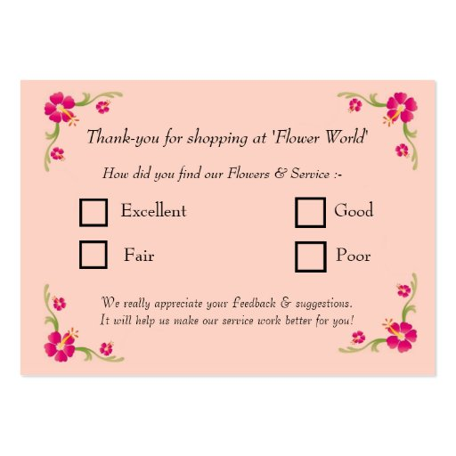 feedback card large business cards  pack of 100