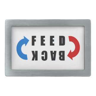 Feedback red and blue belt buckles