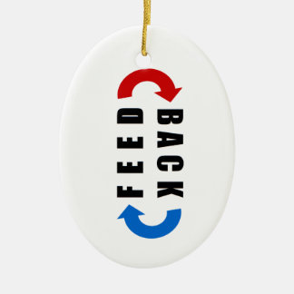 Feedback red and blue ceramic ornament