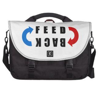 Feedback red and blue laptop messenger bag