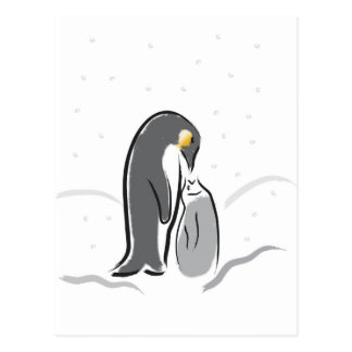Feeding baby penguin postcard