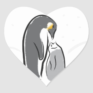 Feeding baby penguin heart sticker