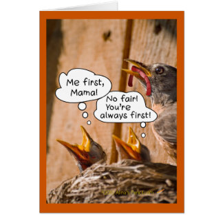 Feeding BabyBirds Funny Mother's Day Card Template