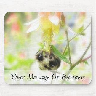 Feeding - Bee On Columbine Mouse Pad