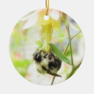 Feeding - Bee On Columbine Ornament