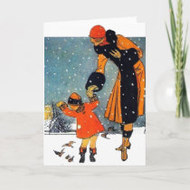 Feeding Birds in the Snow Holiday Card