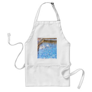 Feeding ducks in a lake adult apron