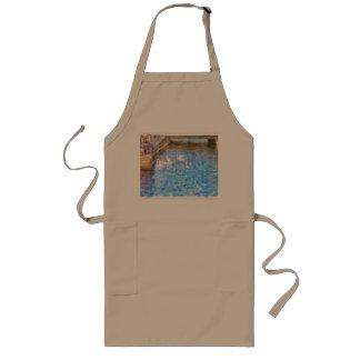 Feeding ducks in a lake long apron