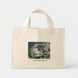 feeding gulls mini tote bag