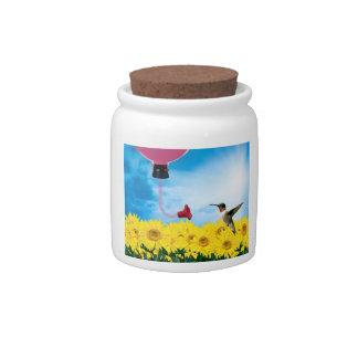 Feeding Hummingbird Candy Jar
