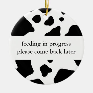 Feeding in progress door hanger ceramic ornament