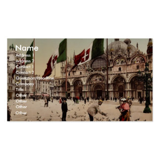 Feeding Pigeons in St. Mark's Place, Venice, Italy Double-Sided Standard Business Cards (Pack Of 100)