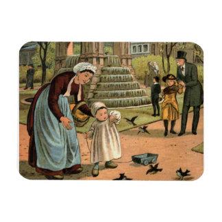 """Feeding the Birds"" Vintage Illustration Magnet"