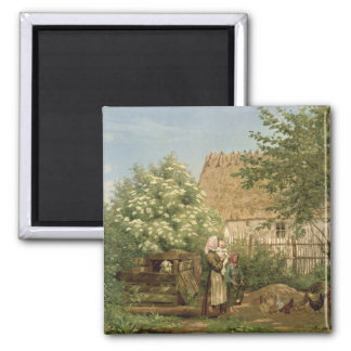 Feeding the Chickens 2 Inch Square Magnet