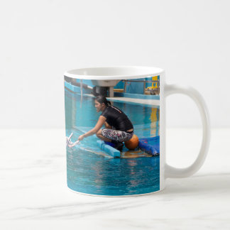 Feeding the dolphins as part of Dolphin show Mug